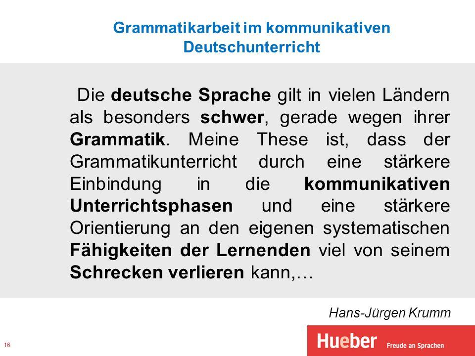 Grammatikarbeit im kommunikativen Deutschunterricht