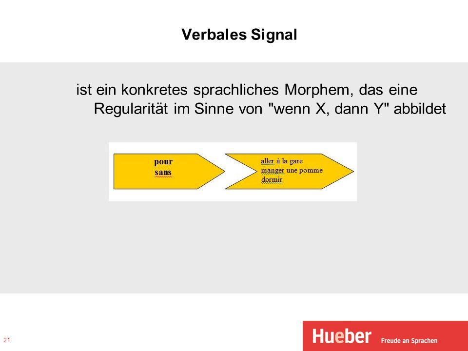 Verbales Signal ist ein konkretes sprachliches Morphem, das eine Regularität im Sinne von wenn X, dann Y abbildet.