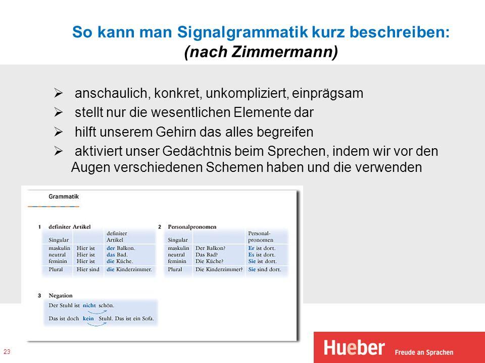 So kann man Signalgrammatik kurz beschreiben: (nach Zimmermann)