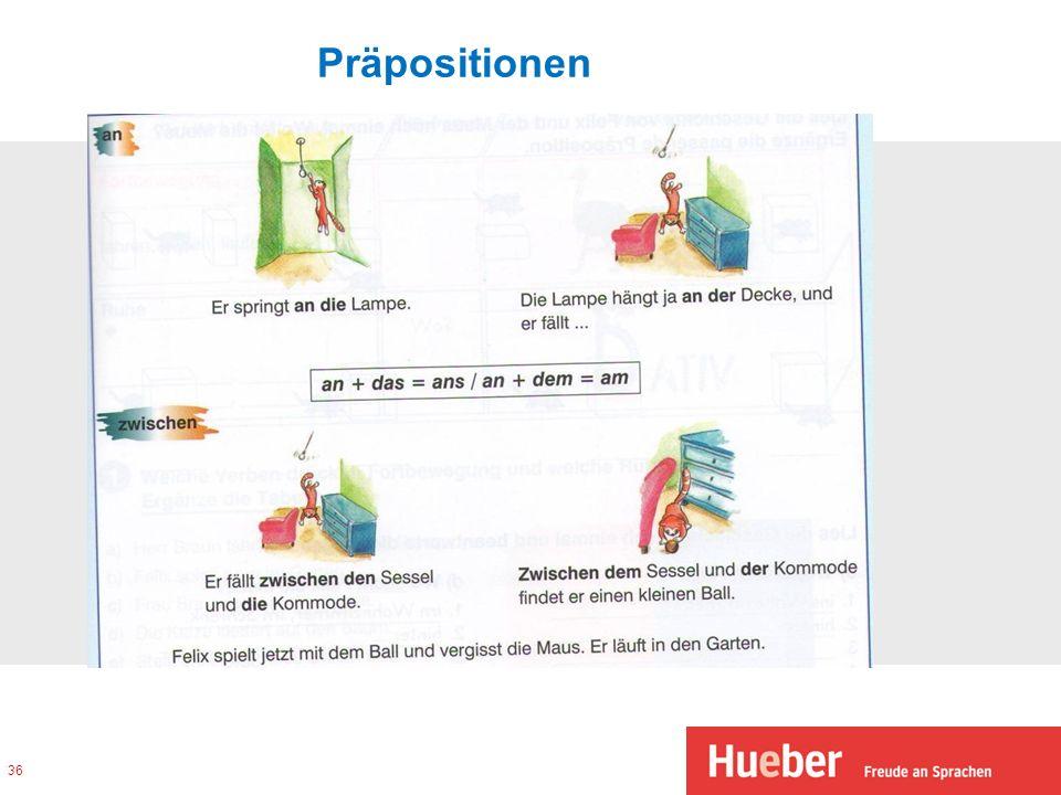 Arbeitsblatt Präpositionen A1 : Grammatikvermittlung in den modernen schullehrwerken auf