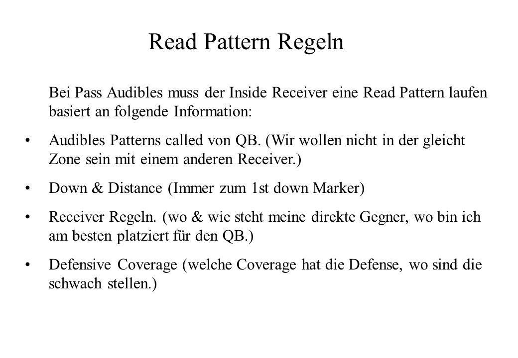 Read Pattern Regeln Bei Pass Audibles muss der Inside Receiver eine Read Pattern laufen basiert an folgende Information:
