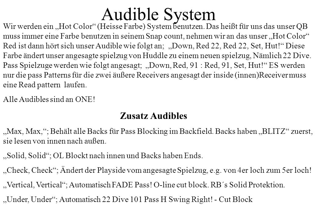 Audible System