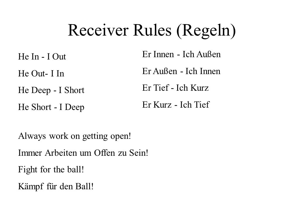 Receiver Rules (Regeln)