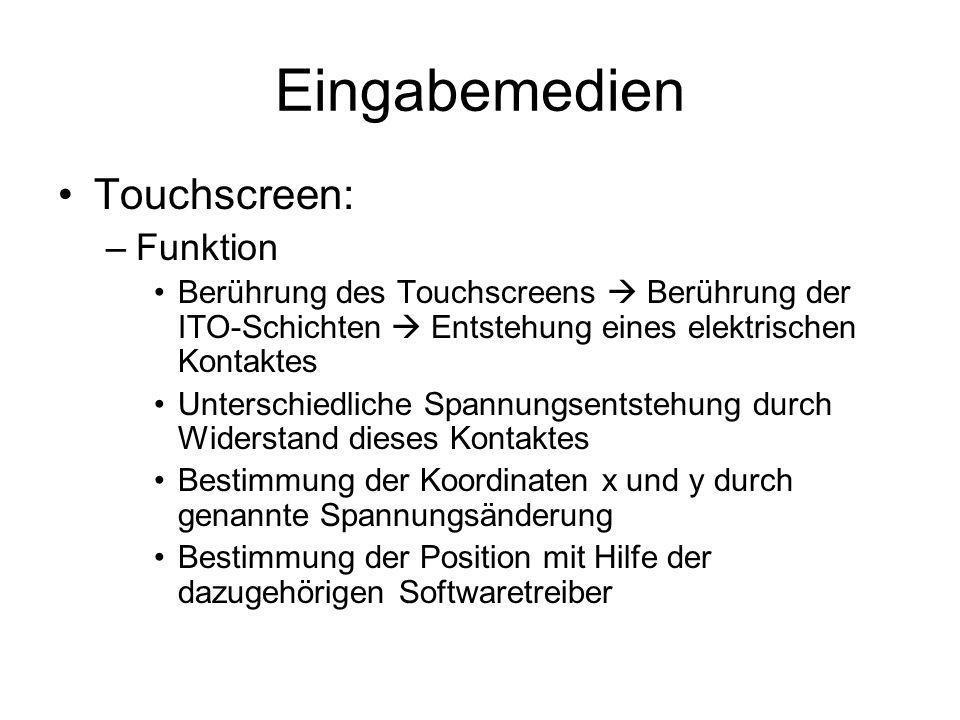 Eingabemedien Touchscreen: Funktion