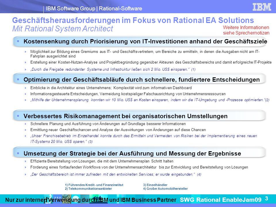 Geschäftsherausforderungen im Fokus von Rational EA Solutions Mit Rational System Architect