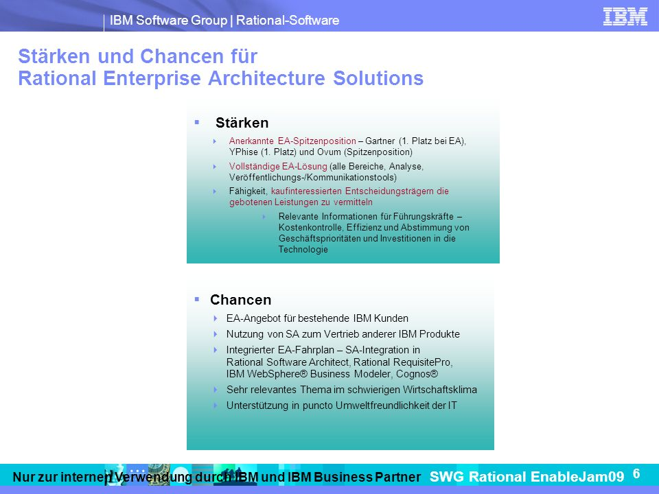 Stärken und Chancen für Rational Enterprise Architecture Solutions