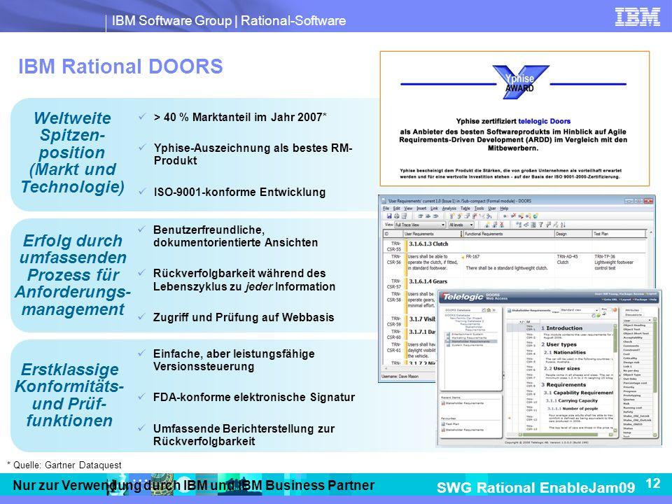IBM Rational DOORS Weltweite Spitzen- position (Markt und Technologie)