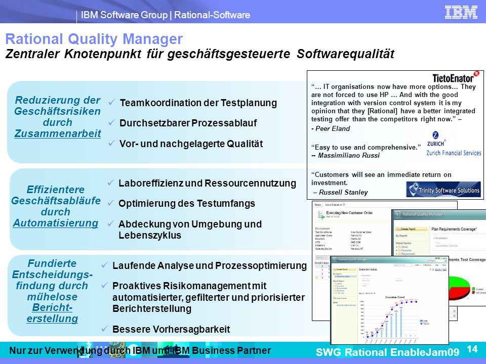 Rational Quality Manager Zentraler Knotenpunkt für geschäftsgesteuerte Softwarequalität
