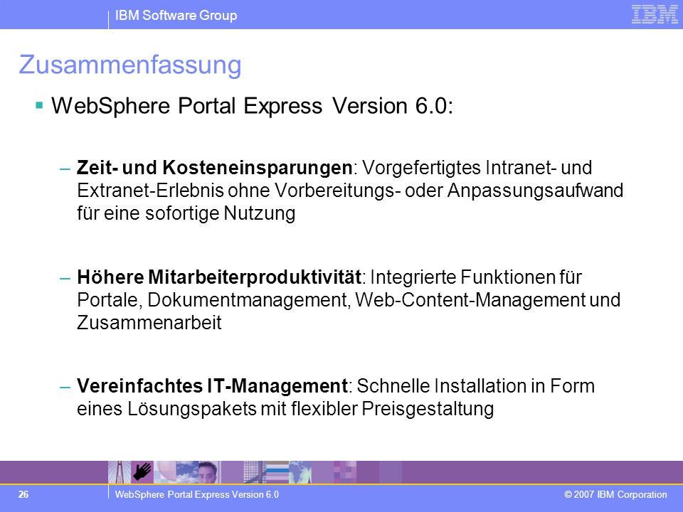Zusammenfassung WebSphere Portal Express Version 6.0: