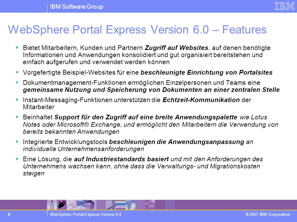 WebSphere Portal Express Version 6.0 – Features