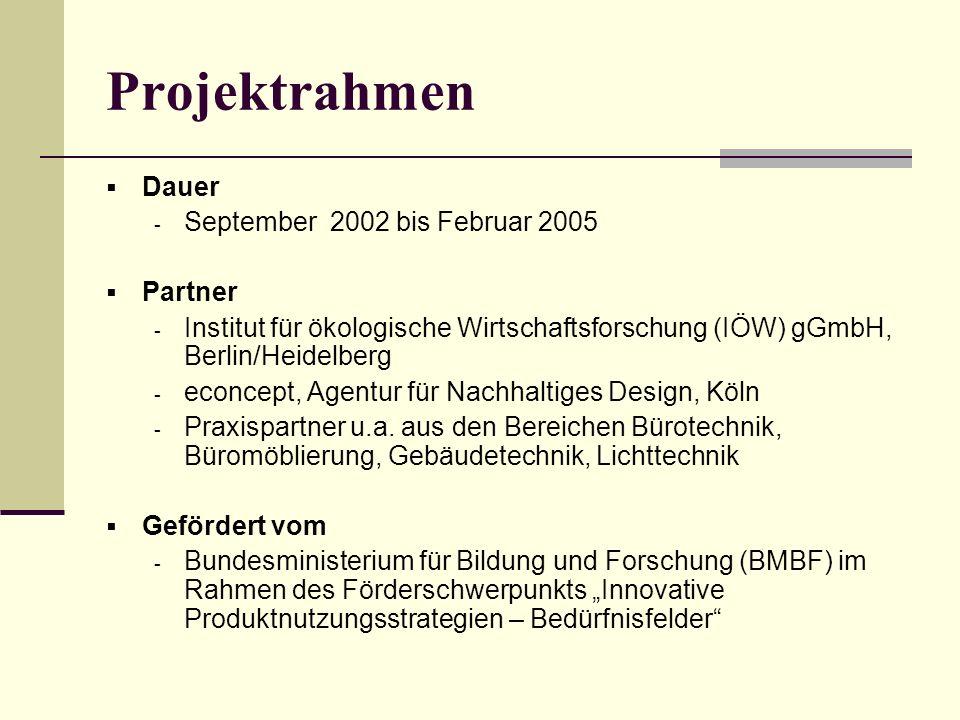 Projektrahmen Dauer September 2002 bis Februar 2005 Partner
