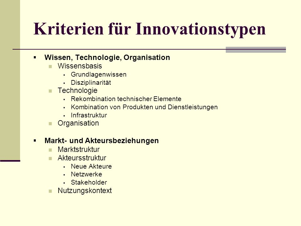 Kriterien für Innovationstypen