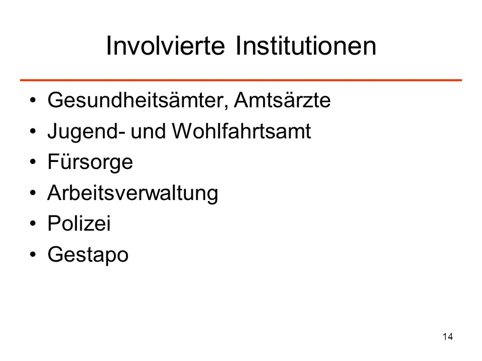 Involvierte Institutionen