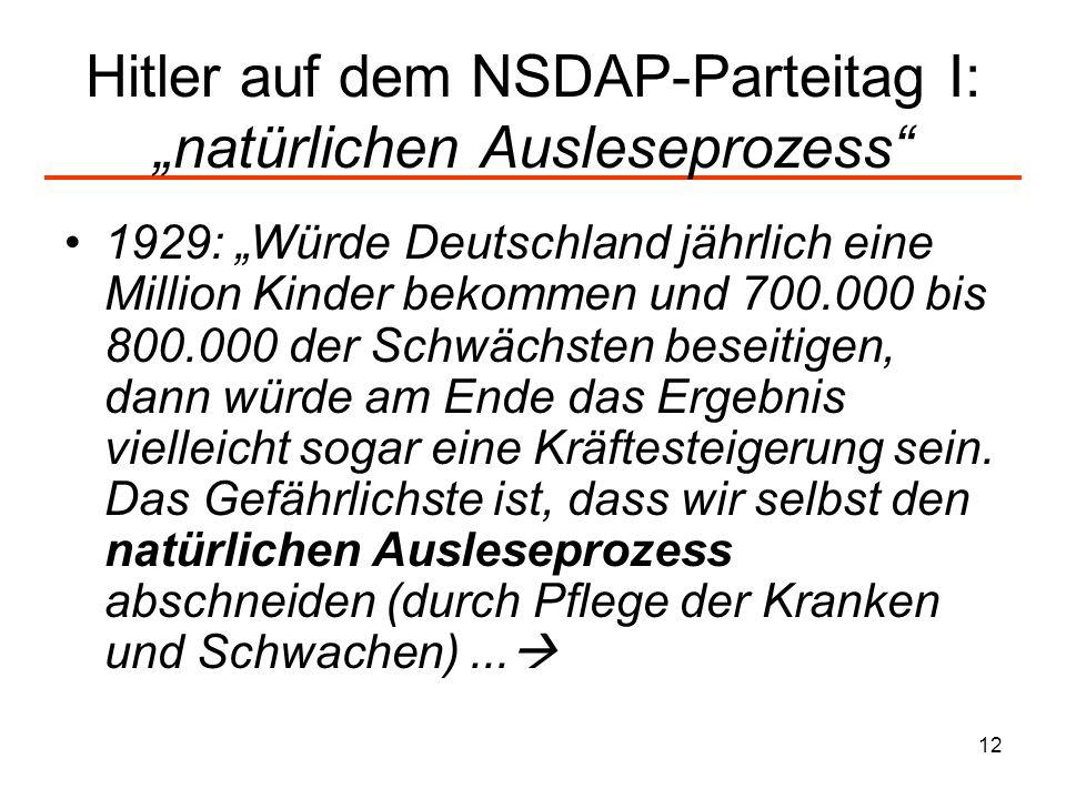 """Hitler auf dem NSDAP-Parteitag I: """"natürlichen Ausleseprozess"""