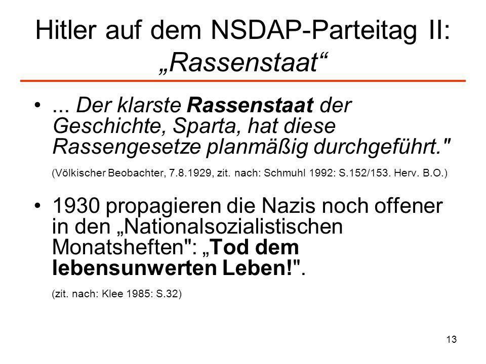 "Hitler auf dem NSDAP-Parteitag II: ""Rassenstaat"