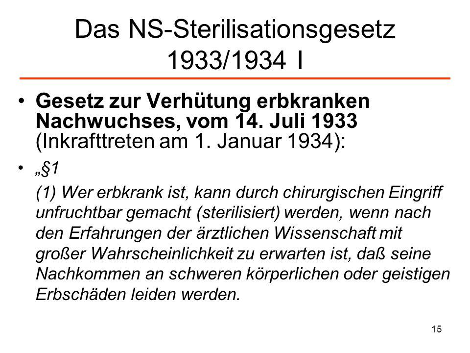 Das NS-Sterilisationsgesetz 1933/1934 I