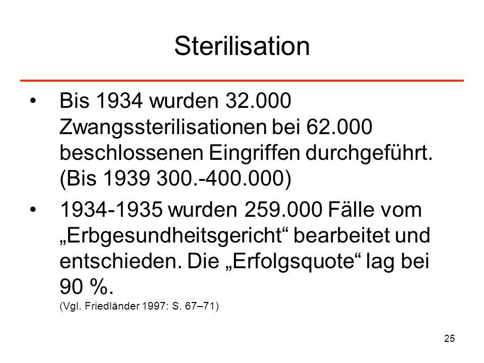 Sterilisation Bis 1934 wurden 32.000 Zwangssterilisationen bei 62.000 beschlossenen Eingriffen durchgeführt. (Bis 1939 300.-400.000)