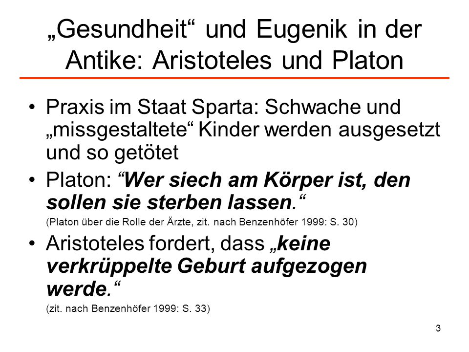 """""""Gesundheit und Eugenik in der Antike: Aristoteles und Platon"""