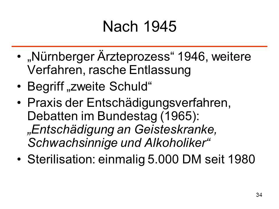 """Nach 1945 """"Nürnberger Ärzteprozess 1946, weitere Verfahren, rasche Entlassung. Begriff """"zweite Schuld"""