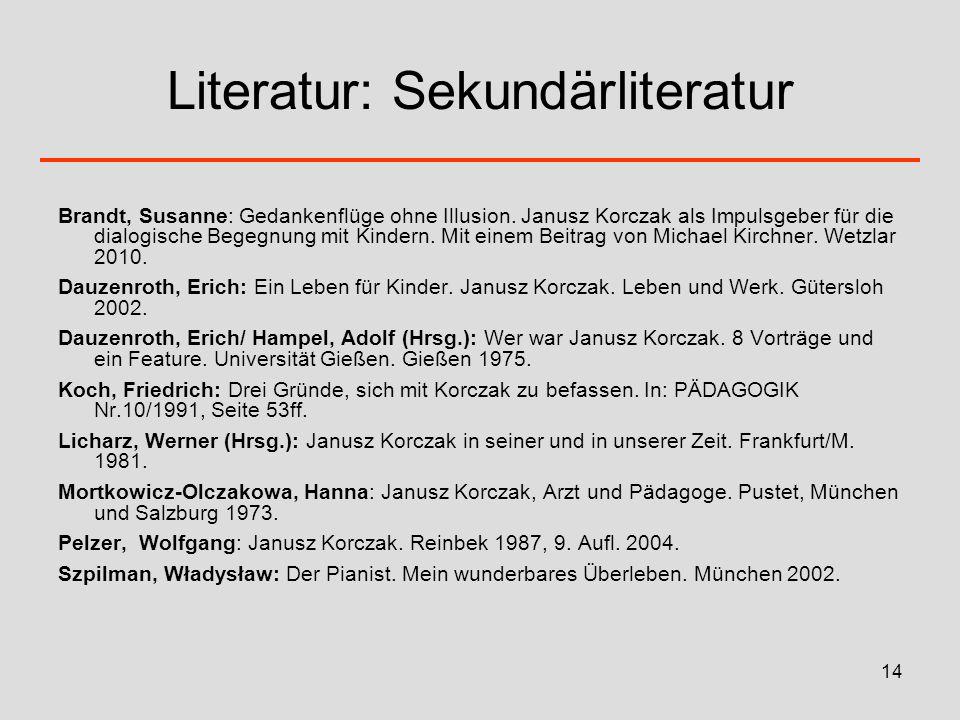 Literatur: Sekundärliteratur