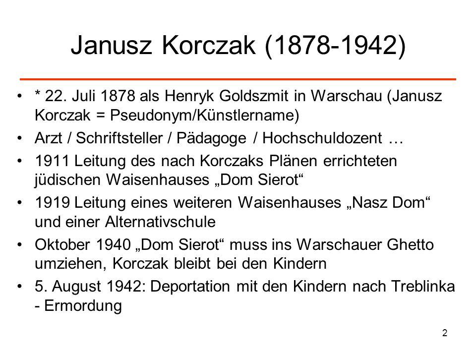 Janusz Korczak (1878-1942) * 22. Juli 1878 als Henryk Goldszmit in Warschau (Janusz Korczak = Pseudonym/Künstlername)