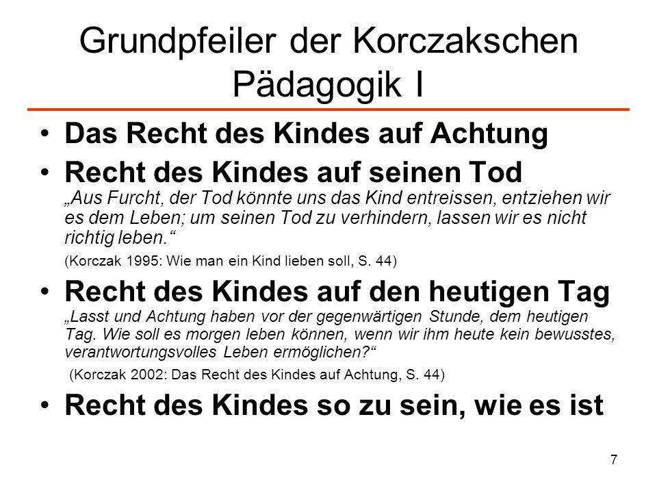 Grundpfeiler der Korczakschen Pädagogik I