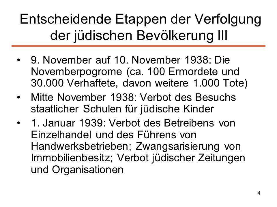 Entscheidende Etappen der Verfolgung der jüdischen Bevölkerung III
