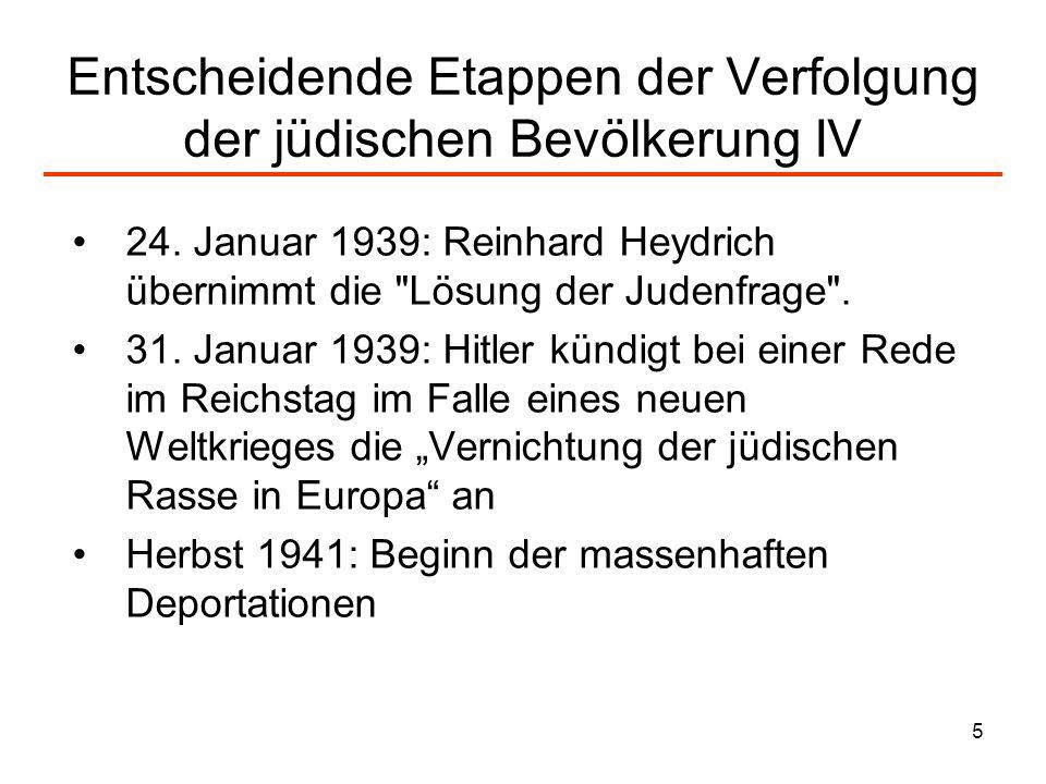 Entscheidende Etappen der Verfolgung der jüdischen Bevölkerung IV