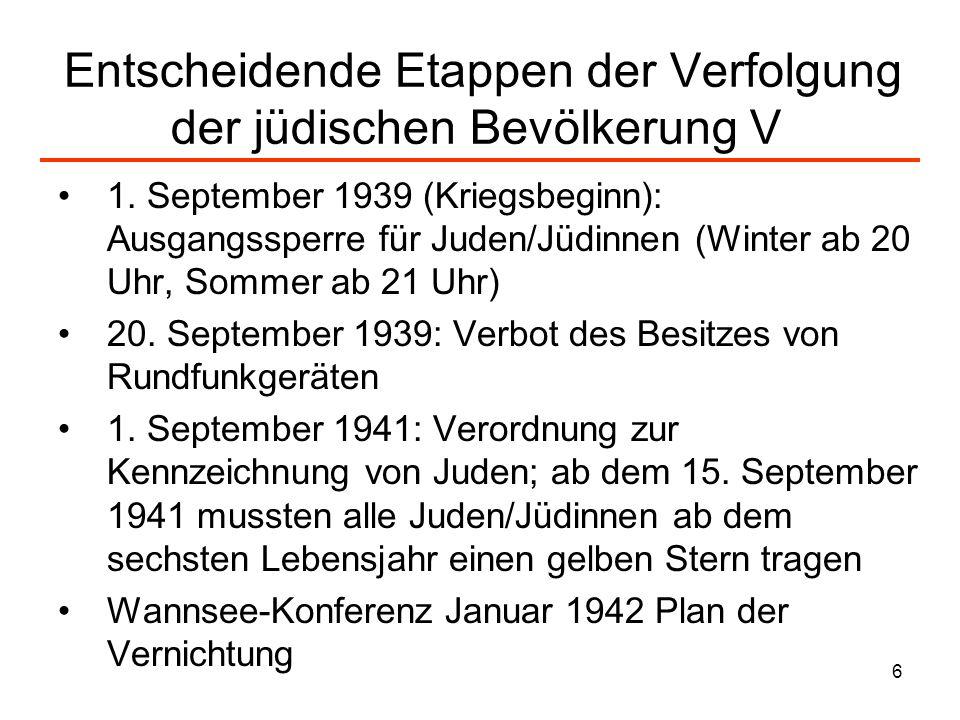Entscheidende Etappen der Verfolgung der jüdischen Bevölkerung V