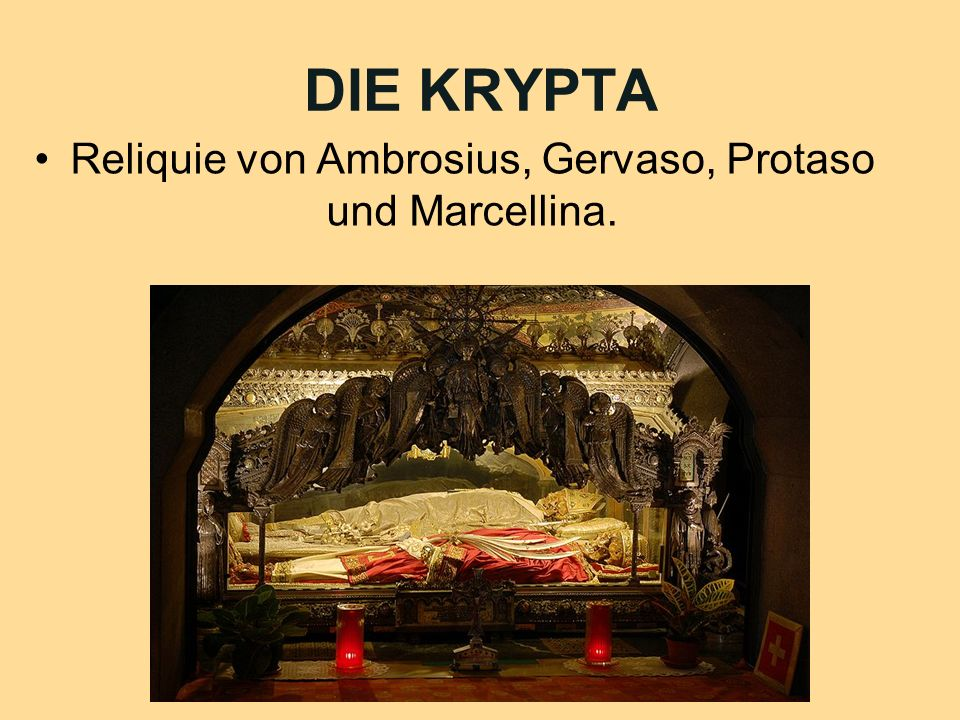 Reliquie von Ambrosius, Gervaso, Protaso und Marcellina.