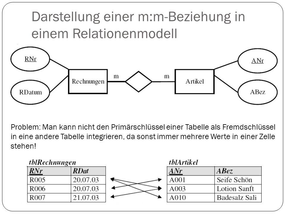 Darstellung einer m:m-Beziehung in einem Relationenmodell
