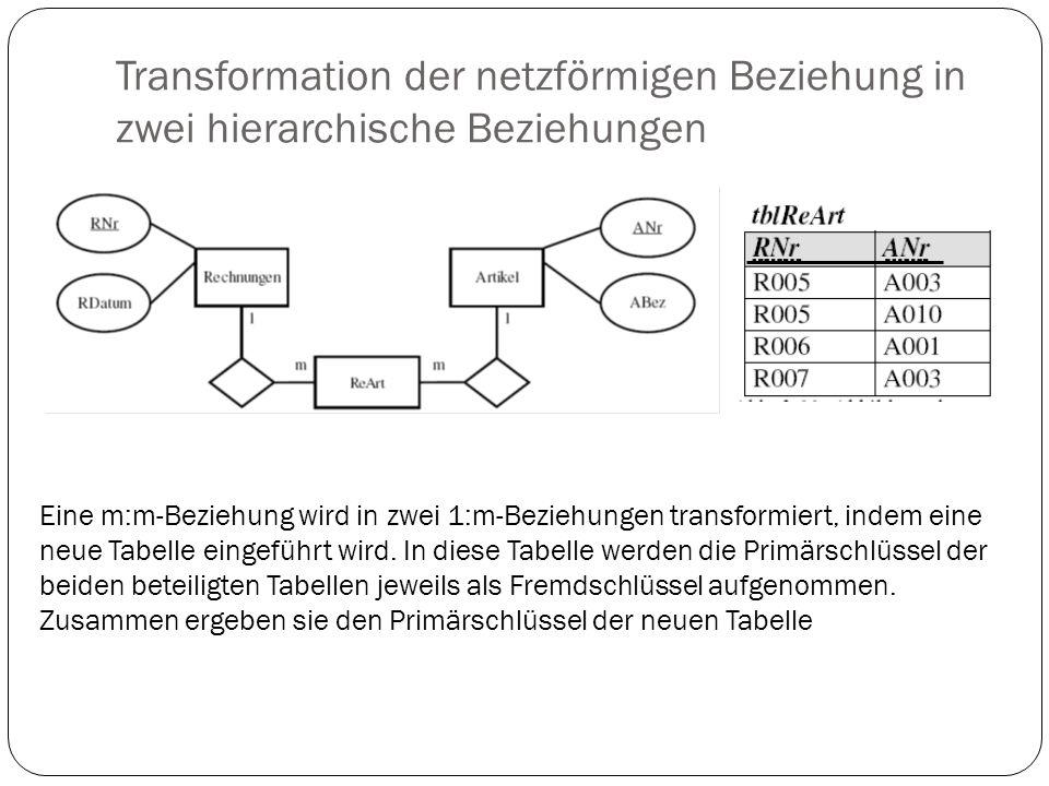 Transformation der netzförmigen Beziehung in zwei hierarchische Beziehungen