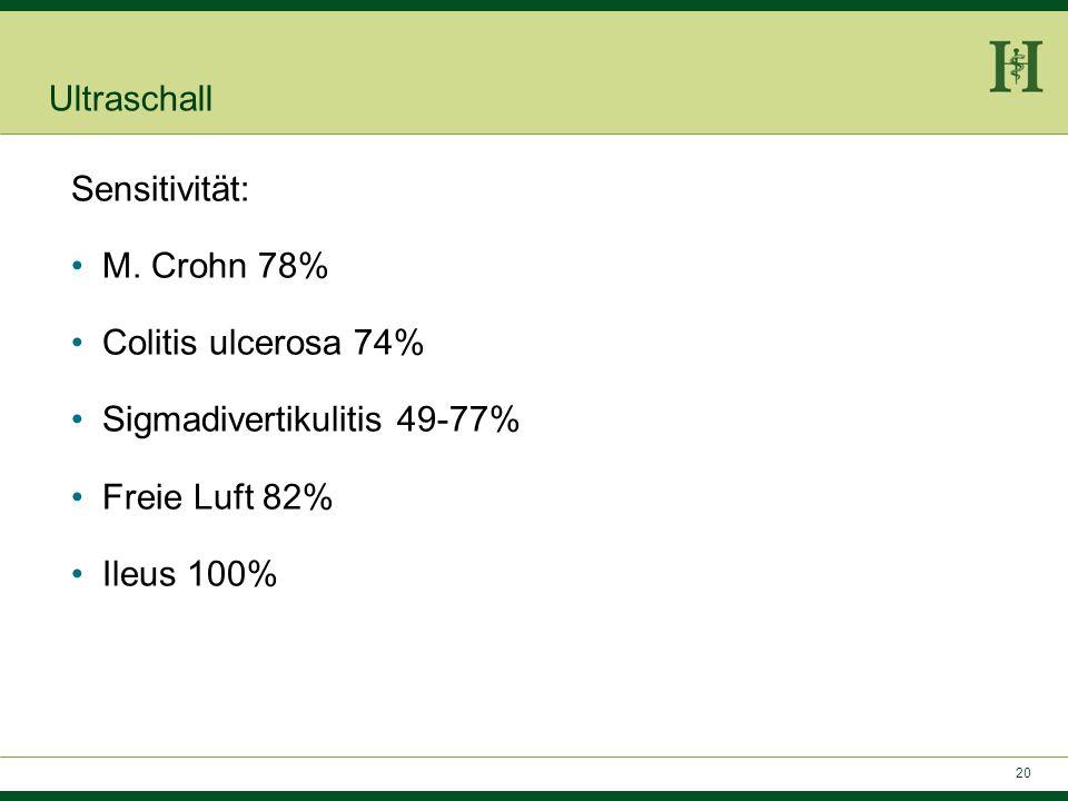 Ultraschall Sensitivität: M. Crohn 78% Colitis ulcerosa 74% Sigmadivertikulitis 49-77% Freie Luft 82%