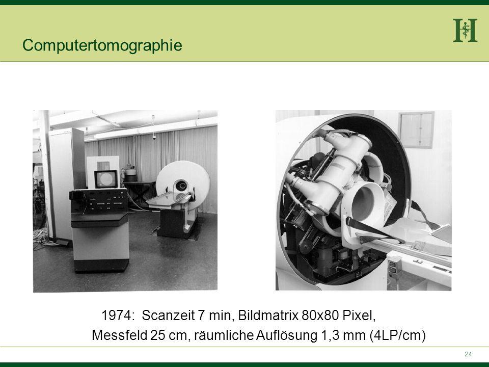 Computertomographie1974: Scanzeit 7 min, Bildmatrix 80x80 Pixel, Messfeld 25 cm, räumliche Auflösung 1,3 mm (4LP/cm)