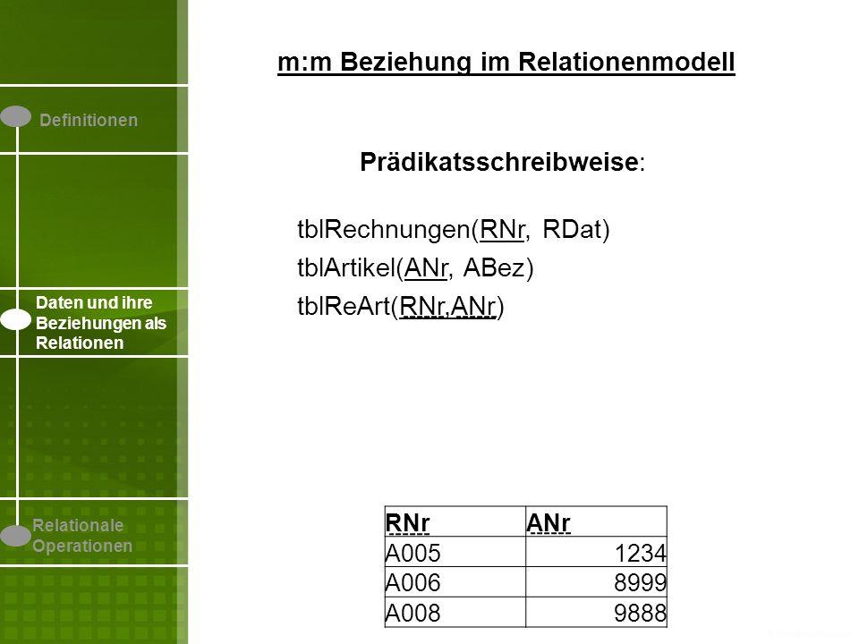 m:m Beziehung im Relationenmodell