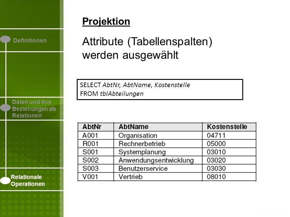 Attribute (Tabellenspalten) werden ausgewählt