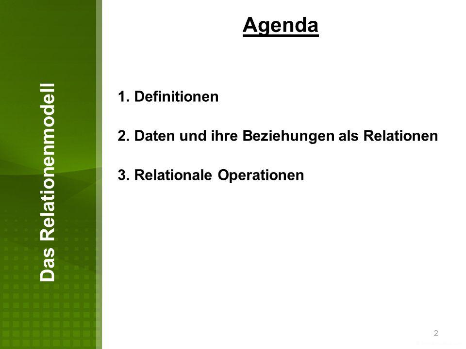 Agenda Das Relationenmodell 1. Definitionen