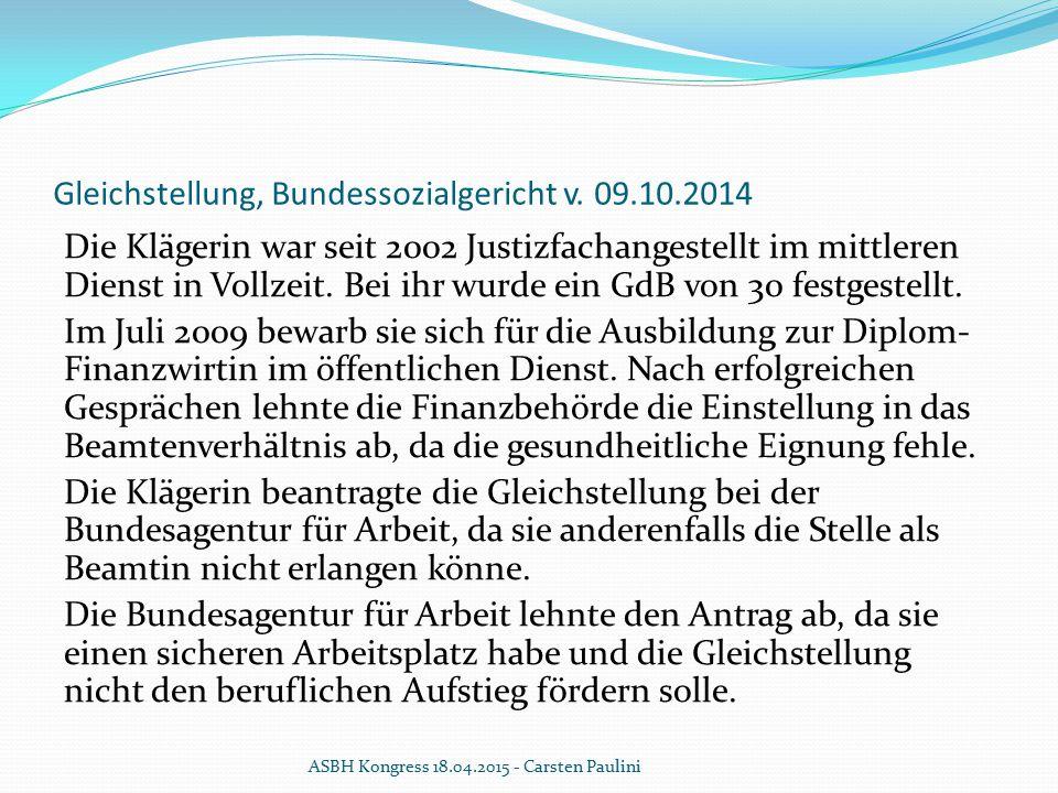 Gleichstellung, Bundessozialgericht v. 09.10.2014