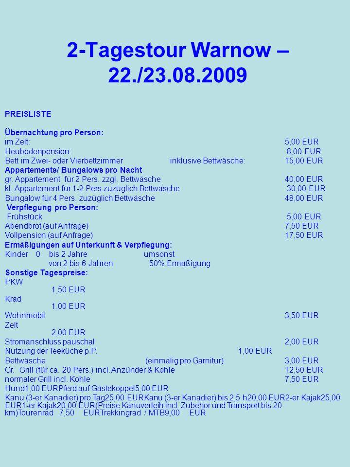 2-Tagestour Warnow – 22./23.08.2009 PREISLISTE