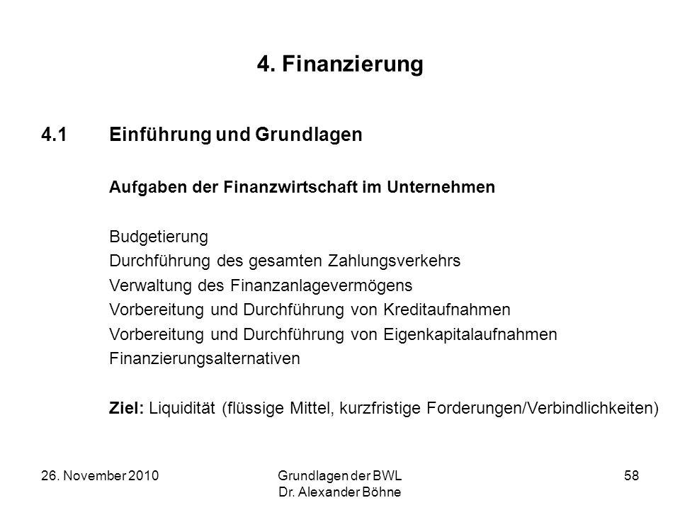 4. Finanzierung 4.1 Einführung und Grundlagen