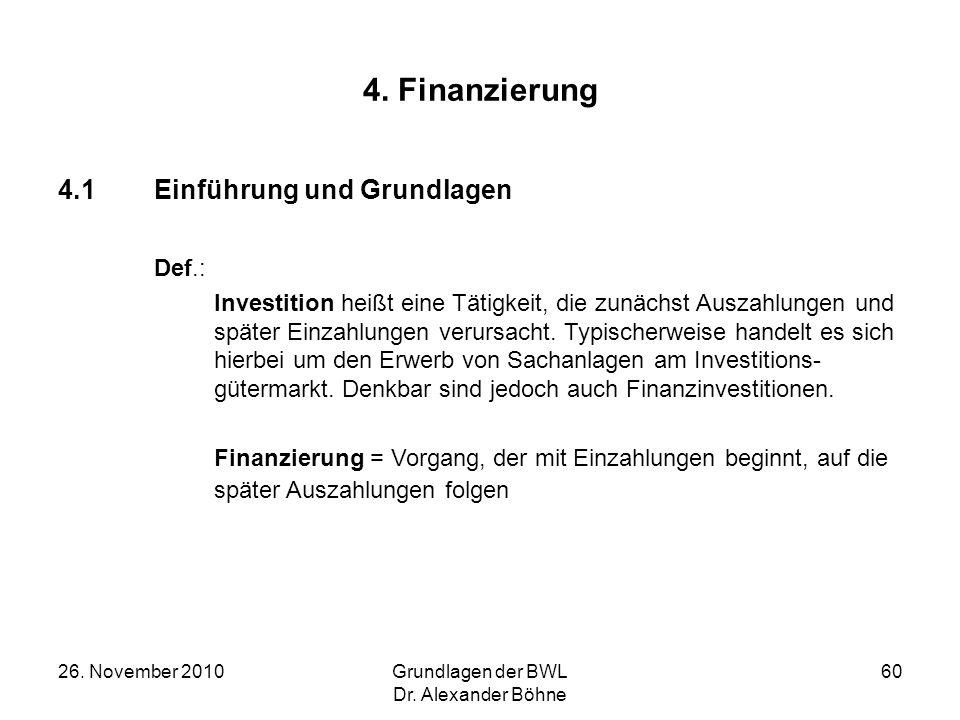 4. Finanzierung 4.1 Einführung und Grundlagen Def.: