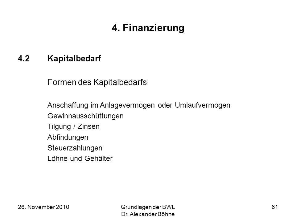 4. Finanzierung 4.2 Kapitalbedarf Formen des Kapitalbedarfs