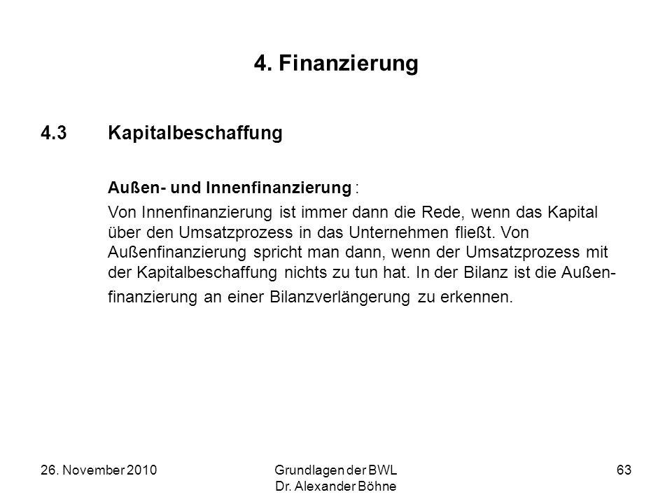 4. Finanzierung 4.3 Kapitalbeschaffung Außen- und Innenfinanzierung :