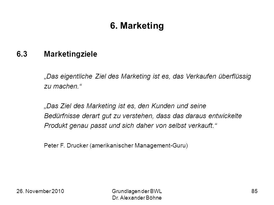 6. Marketing 6.3 Marketingziele