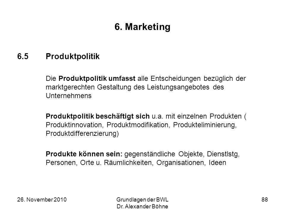6. Marketing 6.5 Produktpolitik