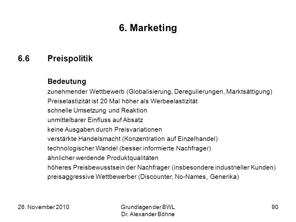 6. Marketing 6.6 Preispolitik Bedeutung