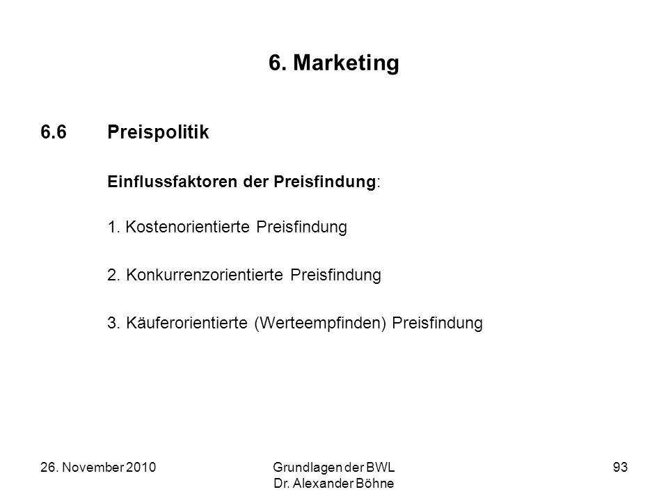 6. Marketing 6.6 Preispolitik Einflussfaktoren der Preisfindung: