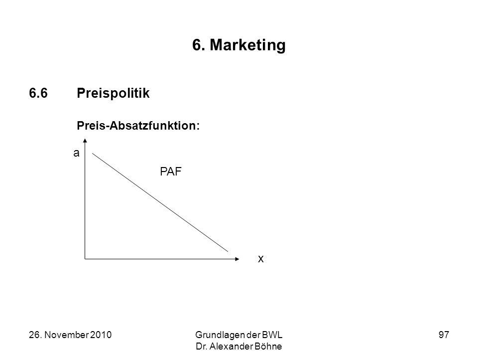 6. Marketing 6.6 Preispolitik Preis-Absatzfunktion: a PAF x
