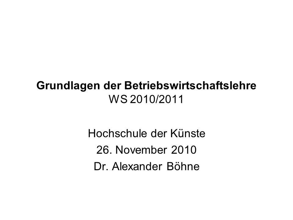 Grundlagen der Betriebswirtschaftslehre WS 2010/2011