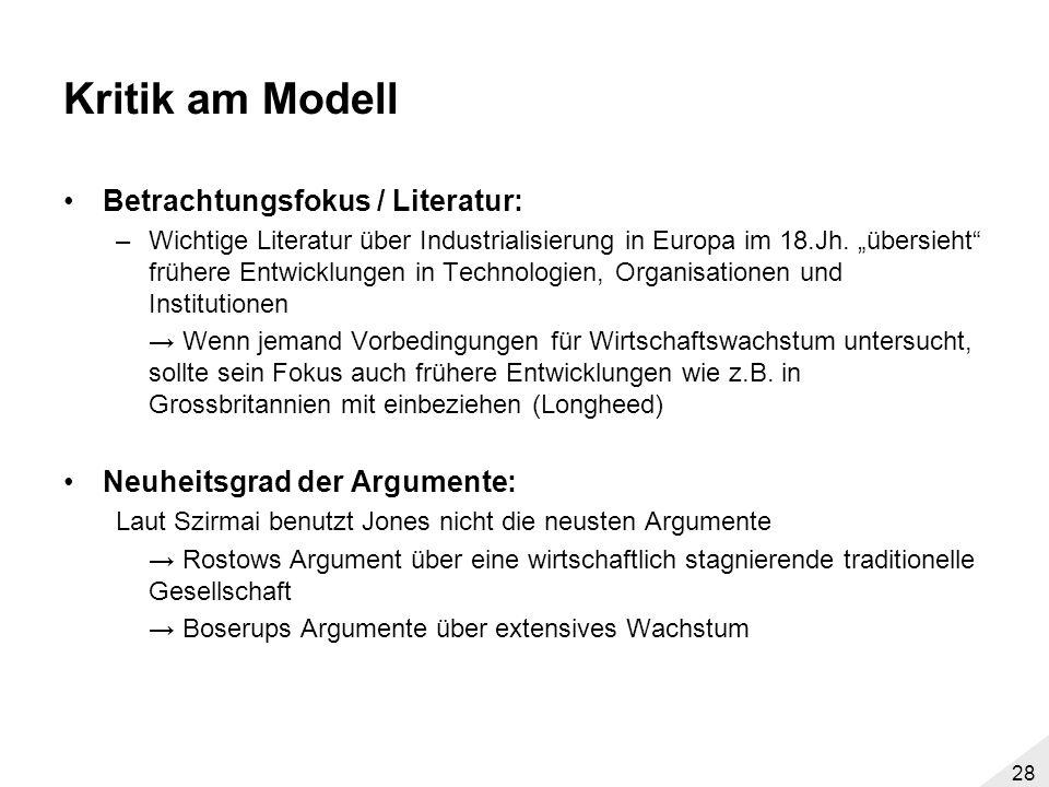 Kritik am Modell Betrachtungsfokus / Literatur: